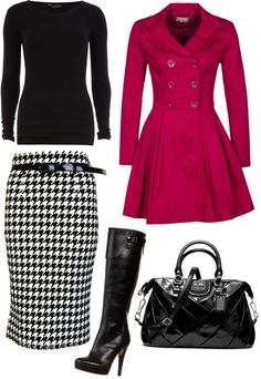 """Pop of pink."" by kristina-norrad ❤ liked on Polyvore"
