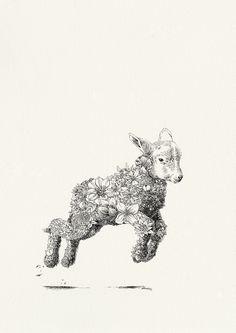 Popeye the Sailor Lamb - Giclée Print – Marini Ferlazzo - Art for Wildlife Lamb Tattoo, Sheep Tattoo, Body Art Tattoos, Small Tattoos, Lamb Drawing, Sheep Illustration, Sheep Art, Sheep And Lamb, Art Studies