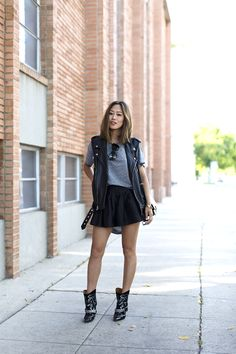aimee_song_black_leather_vest_grey_shirt_black_skirt_isabel_marant_boots_celine_box_bag