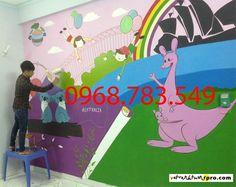 Tranh vẽ trang trí trường mn số 2D 6B Vạn Phúc