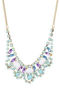 Minty luxe necklace. Mint, white, purple & blue stone $24 HauteLook