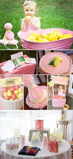 pink lemonade party Leach so change in plans. I think Bryns party is going to be pink lemonade, how cute would it be to make the lemonade stand for pics! First Birthday Party Themes, Baby Girl 1st Birthday, Summer Birthday, Birthday Parties, Birthday Ideas, Cake Birthday, Birthday Crafts, Husband Birthday, Party Summer