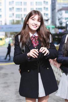 jeon somi, you might not my first but would u be my last? K Pop Idol, My Idol, Jeon Somi, School Uniform Fashion, Lil Black Dress, Pre Debut, Wattpad, Korean Celebrities, Purple Fashion