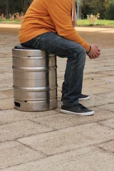 Beer Keg Stool by Lloyd Roberts Reuse Material: Metal Beer Barrels