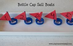 We made very simple little sail boats using bottle caps (ours are from milk bottles but I'm sure any would do), pipe cleaners, foam sheets, glue and tape School Holiday Activities, Preschool Activities, Boat Crafts, Foam Sheets, Sail Boats, Make Your Own, How To Make, Dramatic Play, School Holidays