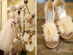 I love the cotton plant in the foreground of this photo of such a gorgeous dress. Great shot by Benfield Photography!