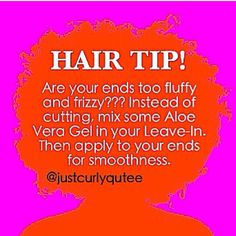 Natural hair tips! Fix fluffy or frizzy ends with aloe vera gel Natural hair tips! Fix fluffy or frizzy ends with aloe vera gel Natural Hair Care Tips, Natural Hair Regimen, Curly Hair Tips, Curly Hair Care, Curly Hair Styles, Natural Hair Styles, 4c Hair, Curly Girl, Pelo Natural