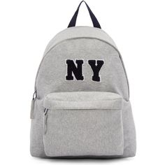 Joshua Sanders Grey Jersey NY Backpack (28,270 INR) ❤ liked on Polyvore featuring bags, backpacks, backpack, accessories, bolsas, grey, handle bag, hardware bag, knapsack bags and zip handle bags