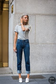pointed loafers with tee and cuffed jeans
