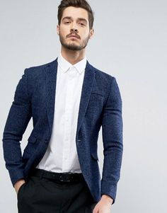 Search for super skinny blazer at ASOS. Shop from over styles, including super skinny blazer. Discover the latest women's and men's fashion online Costumes Bleus, Best Business Casual Outfits, Moda Formal, Revival Clothing, Blazer Outfits, Blue Blazer Outfit Men, Fashion Night, Bleu Marine, Look Cool