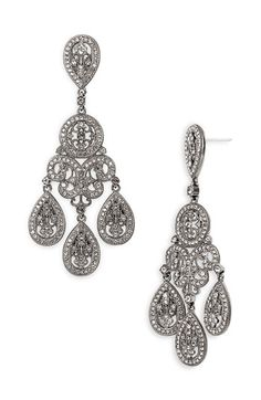 Nadri Large Pavé Teardrop Chandelier Earrings Sparkling Crystals Cover Ornate For Maximum Brilliance