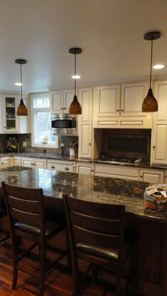 Painted and glazed Poplar Cabinets with glazed, rustic cherry island   Flickr - Photo Sharing!