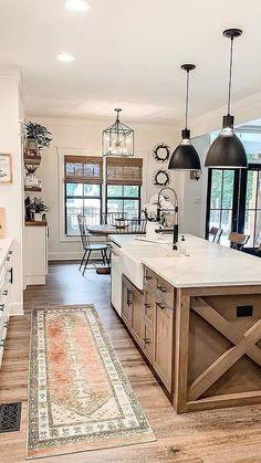 Farmhouse Kitchen Decor, Home Decor Kitchen, Home Kitchens, Modern Farmhouse Kitchens, Dream Home Design, House Design, Dream House Plans, Home Remodeling, Kitchen Remodel