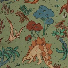 Dinosaur Fabric Jungle Fabric Triceratops Fabric Stegosaurus Fabric Quilting Fabric Craft Fabric Cotton Fabric Pteranodon Fabric