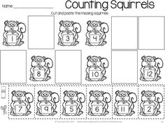 FREE Fall and Autumn Fun! Count the squirrels! Cut and paste the missing numbers... Fall for Kinder Kids FREEBIE has 3 fun Language and Math Fall themed NO PREP printables and 8 illustrated Fall Word Wall cards.