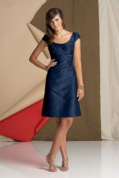 Dupioni silk knee-length a-line dress with cap sleeves and shirred empire band at empire.