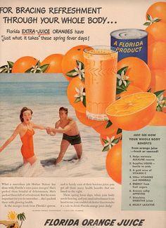 vintage beach florida 1948 advertisement orange by FrenchFrouFrou, $12.95