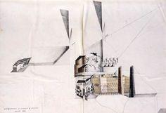 Alessandro Mendini, Autoritratto di Giorgio e Sandro, Milano1983, Matita e matite colorate su carta, 28x41 cm. #sketch
