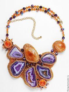 """Купить Колье-кулон """"Purple"""" - Вышивка бисером, натуральные камни, бисер японский, бисер чешский"""