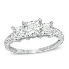 Princess-Cut Lab-Created White Sapphire Three Stone Ring in 10K White Gold - Peoples Jewellers
