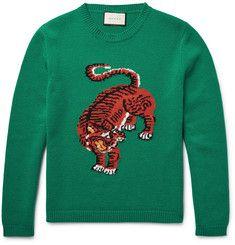 Gucci - Tiger-Intarsia Wool Sweater