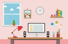 Flat Design Workspace on Behance Flat Design, Logo Design, Design Design, Graphic Design Posters, Graphic Design Illustration, Design Thinking, Em Home, Teacher Cartoon, Classroom Background