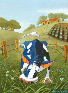 Vaca engullendo hierba como si fuera esta noche la última vez. #vacas #cows #country #pasture #livestok Happy Cow, Awesome, Painting, Art, Grass, Cows, Night, Animales, Illustrations