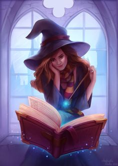 Hermione reading by andrada-art.deviantart.com on @DeviantArt