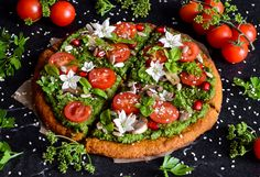 Vegan Gluten free Sweet potato pizza crust with green pesto