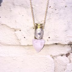 Rose Quartz ArrowHead Astral Bullet Necklace - Crystal Pendant Necklace -  Pendulum for Divination by LokaYogaCollective on Etsy https://www.etsy.com/uk/listing/385688880/rose-quartz-arrowhead-astral-bullet