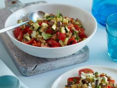 Summer in a Bowl- grilled eggplant and zucchini with feta