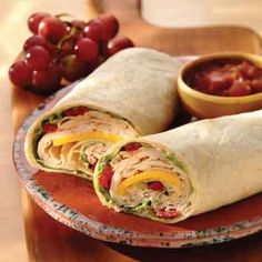 Turkey wraps that can also be cut into pinwheel shapes to make a great appetizer.