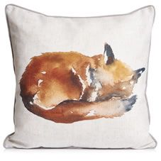 Bring the outside in with our stunning Fox Cushion. This stylish cushion boasts a watercolour fox (which has been created by our in-house design team) on a neutral background. It will add a stylish feature to your home, especially when teamed with other items from our Decelerate range. <BR><BR>Our Decelerate trend is inspired by nature, boasting natural colours and rustic charm that will bring a tranquil feel to any room in your home. <BR><BR>43 x 43cm. Face: 96 percen...