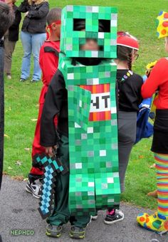 Minecraft Creeper Costume for my son...ssssssssssssBOOM!