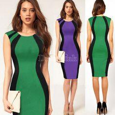 Mujeres Empalme color Equipada Cóctel Vestido lápiz
