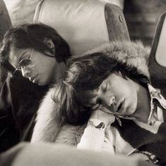 Singer Mick Jagger of the Rolling Stones sleeping alongside his wife Bianca Jagger the morning after the end of their European tour party in Berlin, Germany on October 1973 // Josie Stardust