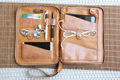 Functional mens clutch, Traveller Bag, Hand Stitch Ipad Case