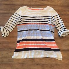 Striped 3/4 sleeve top Blue, white, and coral striped 3/4 sleeve top jcpenney Tops