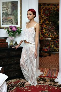 Fairy Lace Bridal Pajama Off White Ivory Lace by SarafinaDreams