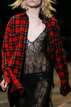 REMIX _ grunge plaid shirt + pearl  | saint laurent 2013 collection #grunge #xadrez #rendas