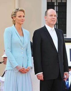 Princess Charlene of Monaco often worked closely with Karl Lagerfeld - they collaborated to create her stunning blue outfit for the civil part of her royal wedding to Prince Albert Monaco Princess, Princess Caroline Of Monaco, Princess Diana, Jennifer Aniston, Jennifer Lopez, Lady Amelia Windsor, Princesa Charlene, Pink Tweed Jacket, Valentino Gowns