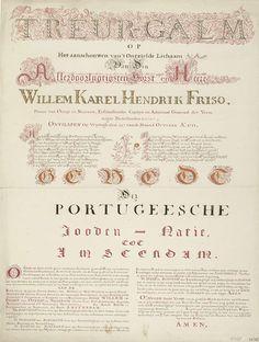 Anonymous | Kalligrafie op het overlijden van prins Willem IV, 1751, Anonymous, 1751 - 1752 | Kalligrafie met een vers op het aanschouwen van het lijk van de op 22 oktober 1751 overleden stadhouder Willem IV en een gebed in naam van de gemeenschap van Portugese joden te Amsterdam. De bovenste regel versierd met twee engelen, een zwaan en enkele andere dieren tussen ranken met bloemen en vruchten. Centraal de afgesneden Oranjeboom.