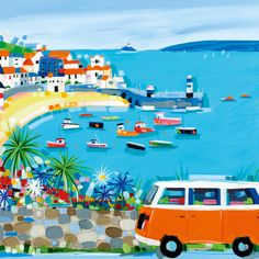St Ives Here We Come (W201) Beach & Coastal Greetings Card by Janet Bell http://www.thewhistlefish.com/product/w201-st-ives-here-we-come-greeting-card-by-janet-bell #stives #cornwall