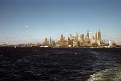 Lower Manhattan, The Battery, the West Side, Empire State building and New York Harbor from the Staten Island Ferry by late afternoon light. New York. Manhattan Skyline, Lower Manhattan, New York Skyline, Staten Island Ferry, New York Harbor, Vintage New York, Color Of Life, Old Pictures, Empire State Building