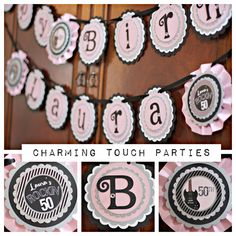 Ladies / 50th Birthday Party Banner.  Rockin 50 / Rock N Roll / Guitar.  Pink and Black, Customizable. by CharmingTouchParties on Etsy