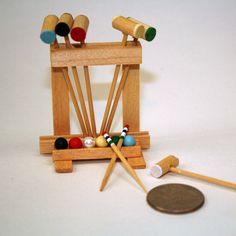 Vintage Miniature Croquet Set - Mallets, Markers & stand - Dollhouse Miniature Game. $18.50, via Etsy.