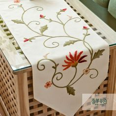 Pastoral embroidered fabric table runner,nordic linen coffee table cloths,tablecloth table towel-A Silk Ribbon Embroidery, Hand Embroidery Patterns, Cross Stitch Embroidery, Diy Arts And Crafts, Diy Crafts, Coffee Table Cloth, Necktie Quilt, Dining Table Runners, Linen Tablecloth