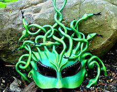Green Leather Medusa Mask, Iridescent Gorgon Costume Headpiece, Handsculpted Lightweight Snaky Halfmask (M208)