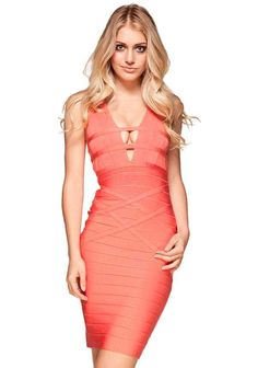 36d3ea38a1 Designer Herve Leger Coral Woven Back Bandage Dress Clubwear, Pink Bandage  Dress, Bandage Dresses