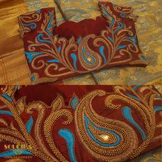#Sareeblouse #soucika #bangalore #designersaree #embroidery #ethnicwear #saree #designerblouse #boutique #ladiesboutique